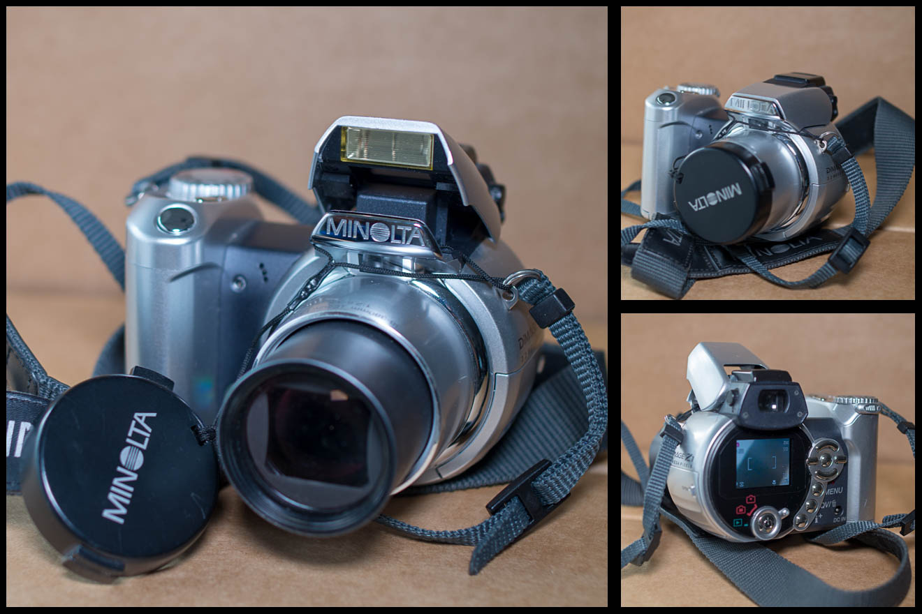 Minolta Dimage Z1 from three different angles, good condition