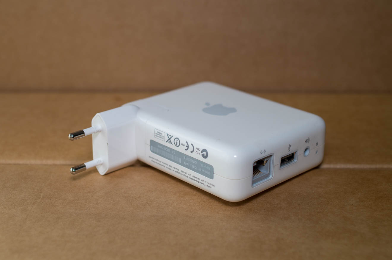 Apple Airport Express with view of the ports