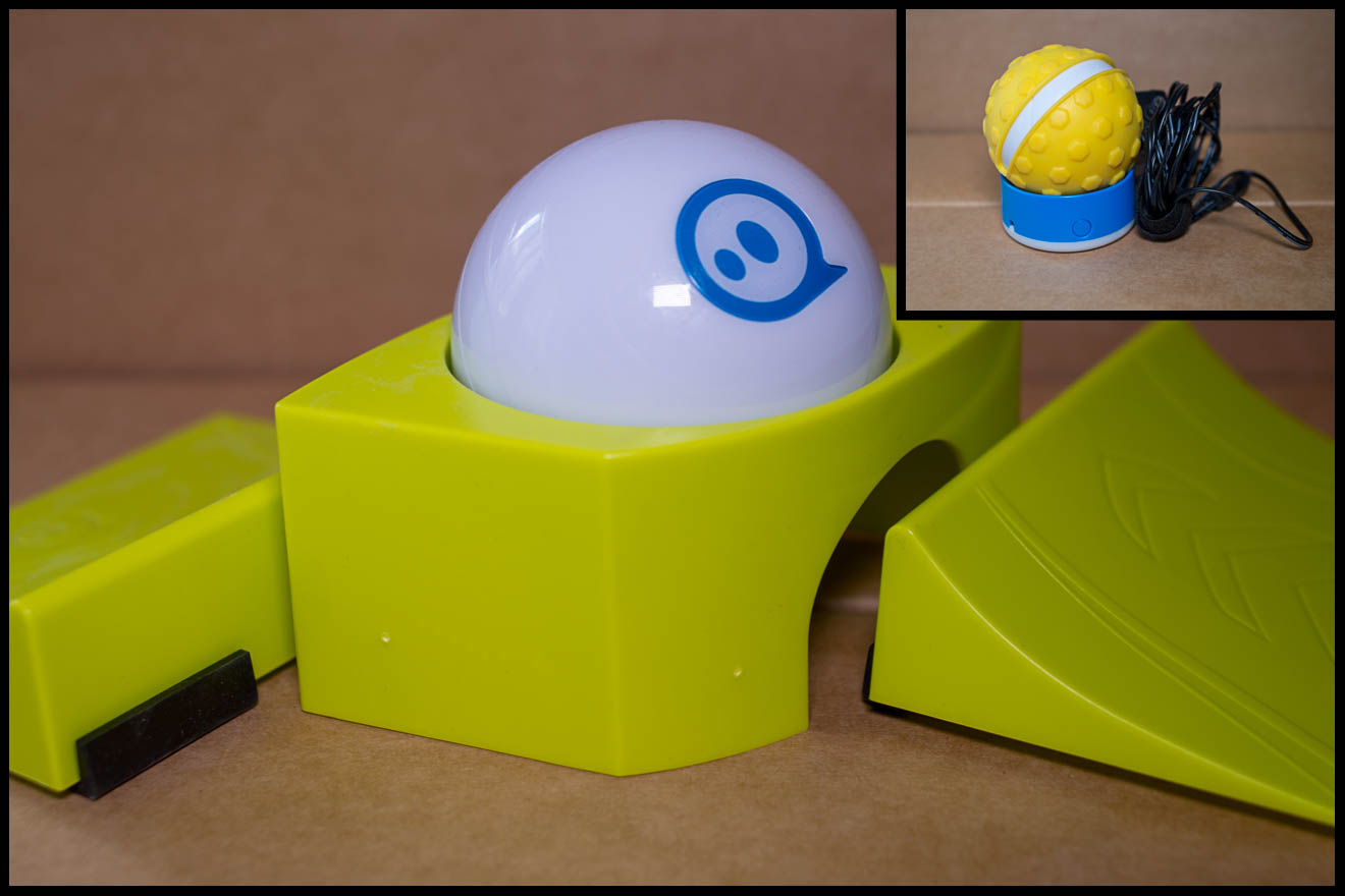 Two images of the Sphero robot, with accessories